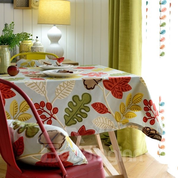 Stunning Fabric Rectangle Leaves Pattern Home Decoration Tablecloth