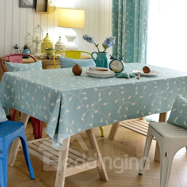 Rectangle Fabric Flower Plant Pattern Washable Dining Room Decoration Tablecloth