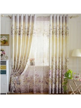Pastoral Style Floral Printing Grey Jacquard Grommet Top Curtain