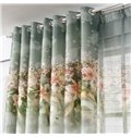 Modern Concise Lily Printing Green Thicken Grommet Top Curtain
