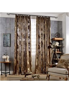European Style Dark Coffee Color Jacquard Flowers Double Pinch Pleat Curtain