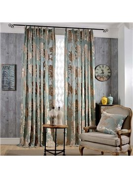 Classical Light Blue Jacquard Flowers Double Pinch Pleat Curtain