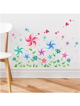 Leisurely Simple Style Colorful Windmill and Heart Pattern Wall Stickers