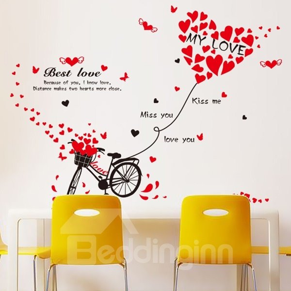 Red Romantic Love Heart Balloon on Bicycle Pattern Wall Stickers