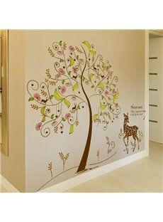 European Style Deer under the Flower Tree Pattern Wall Stickers
