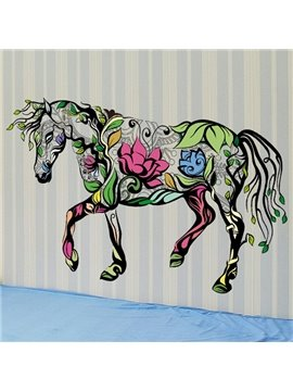 Vivid Decorative Beautiful Flower Horse Shape Wall Stickers