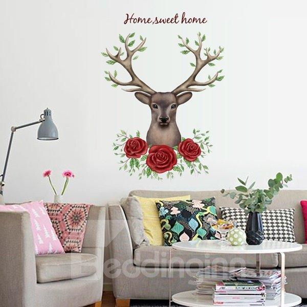 Fantastic Housewares Flower Deer Head Pattern Wall Stickers