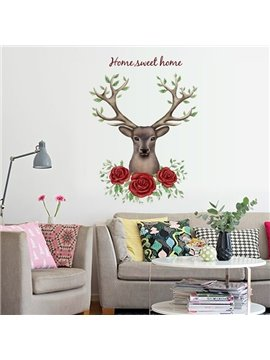Fantastic Housewares Flower Deer Head Pattern Wall Stickers