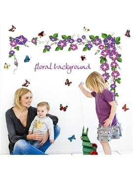 Wonderful Morning Glory Floral Background Wall Stickers