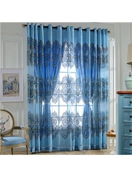 Sapphire Damask Printing Decor Sheer & Shading Cloth Curtain Sets