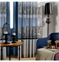 Modern Decor Stripes Printing Grey Sheer & Blue Shading Cloth Curtain Sets
