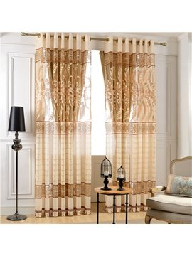 Modern Elegant Beige Leaves Printing Custom Sheer Curtain