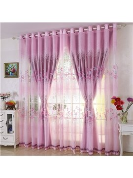 Purple Country Style Clover Printing Custom Sheer Curtain