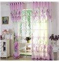 Purple Country Style Flower Printing Custom Sheer Curtain