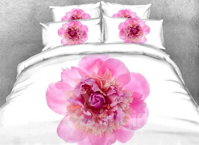 Chic Pink Peony Print 5-Piece Comforter Sets