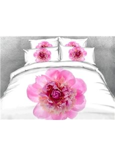 Chic Pink Peony Print 5-Piece Comforter Sets