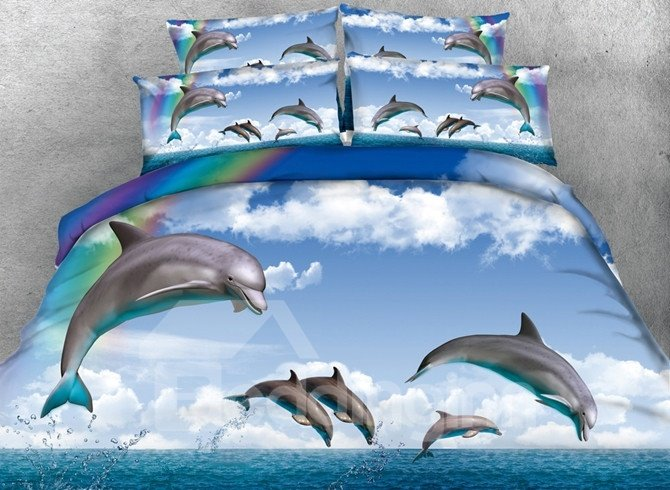 Vigorous Jumping Dolphin Print 5-Piece Comforter Sets
