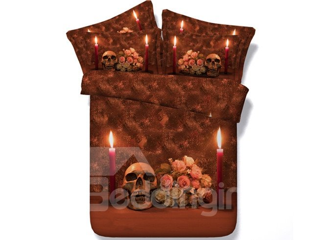 Red Candle and Skull Print 5-Piece Comforter Sets