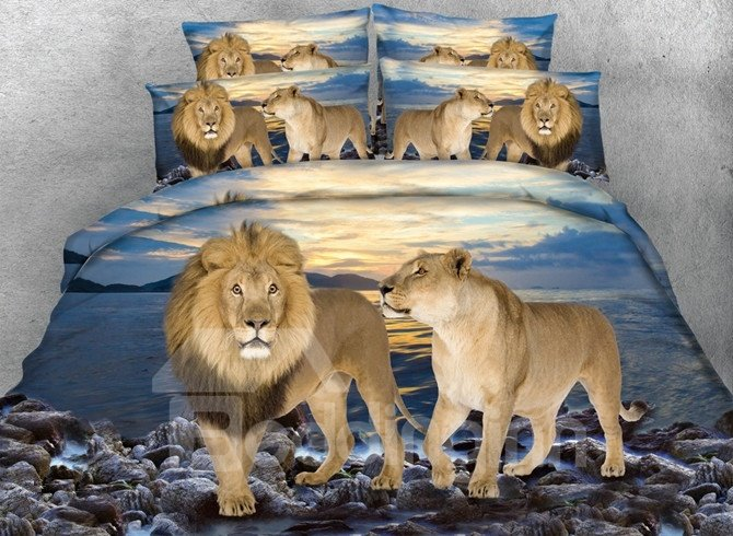 Lifelike Lion Couple Print 5-Piece Comforter Sets