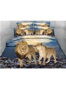 Lifelike Lion Couple Print 5-Piece Comforter Sets