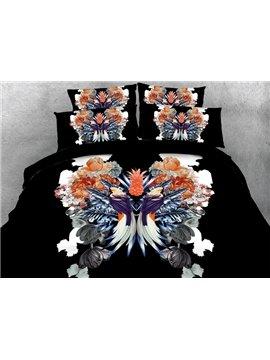Creative Pineapple and Beautiful Bird Print 4-Piece Duvet Cover Sets