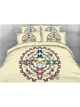Romantic Multi-colored Butterfly Print 4-Piece Duvet Cover Sets
