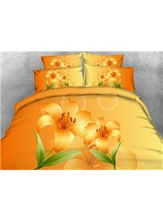 Fancy Yellow Lily Print 4-Piece Duvet Cover Sets