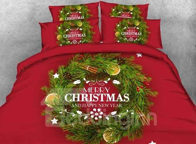Festive Christmas Wreath Print 4-Piece Duvet Cover Sets