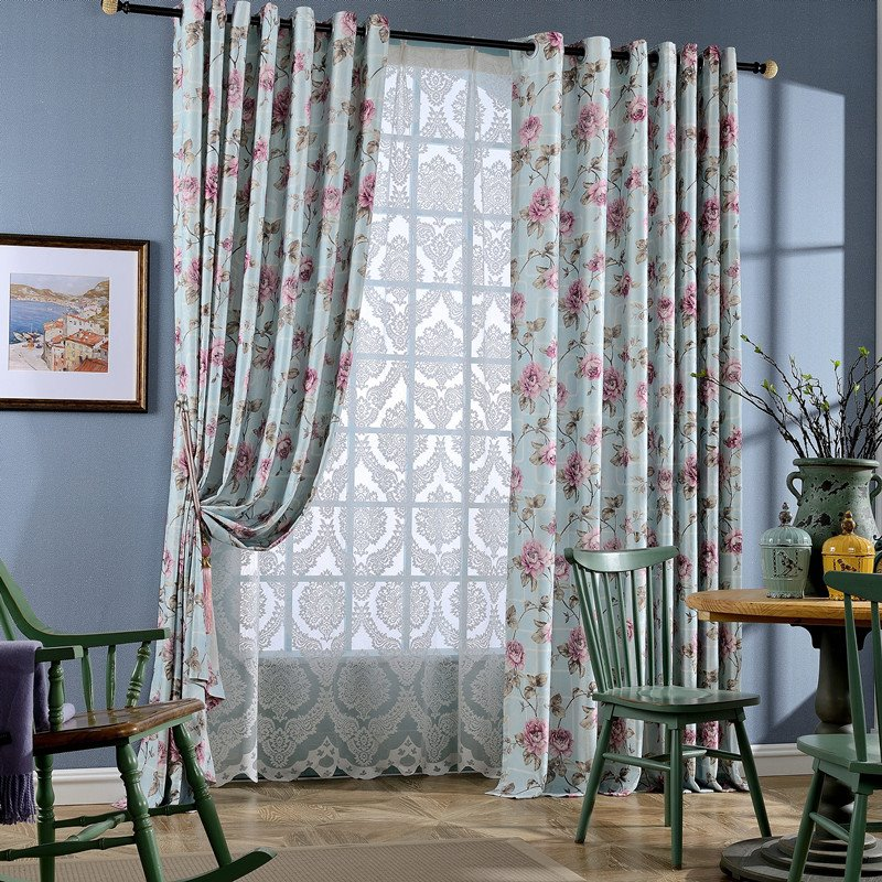 Country Style Floral Printing Light Blue Grommet Top Curtain 12455751