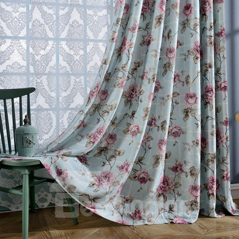 Country Style Floral Printing Light Blue Grommet Top Curtain