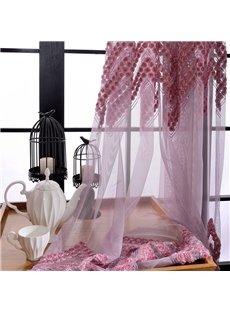 Modern Fashion Applique Roses Red Custom Sheer Curtain