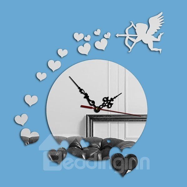 Delicate Acrylic Cupid and Heart Shape Decoration Wall Clock
