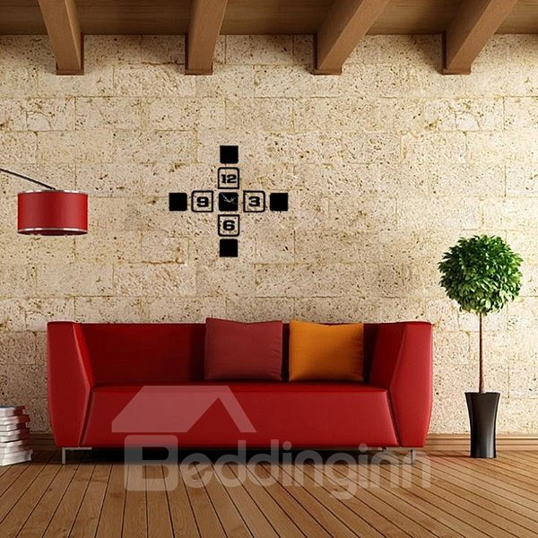 Fancy Three Colors Acrylic Cross Shape Hand and Digital Wall Clock