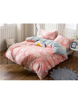 Beautiful Blooming Flower Print 4-Piece Cotton Duvet Cover Sets
