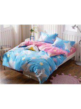 Shining Star Print 4-Piece Cotton Duvet Cover Sets