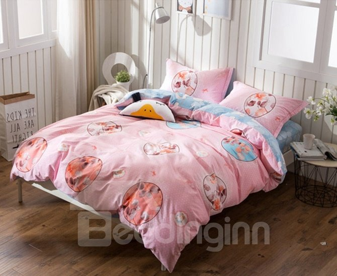 Modern Design Pink 4-Piece Cotton Duvet Cover Sets