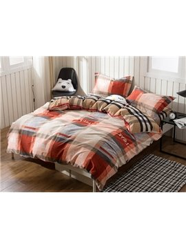 British Style Plaid Print 4-Piece Cotton Duvet Cover Sets