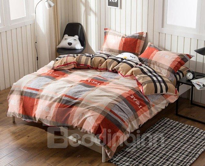 British Style Plaid Print 4-Piece Cotton Duvet Cover Sets