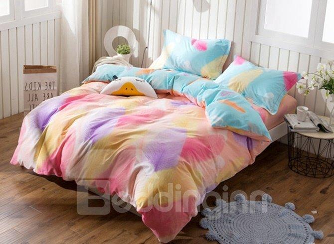 Dreamy Colorful Feather Print 4-Piece Cotton Duvet Cover Sets