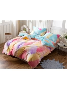 Dreamy Colorful Feather Print 4-Piece Cotton Duvet Cover Sets