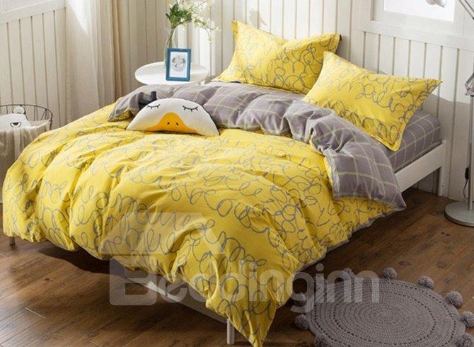 Concise Bright Yellow 4-Piece Cotton Duvet Cover Sets