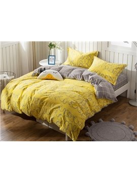 Concise Bright Yellow 4-Piece Cotton Duvet Cover Sets