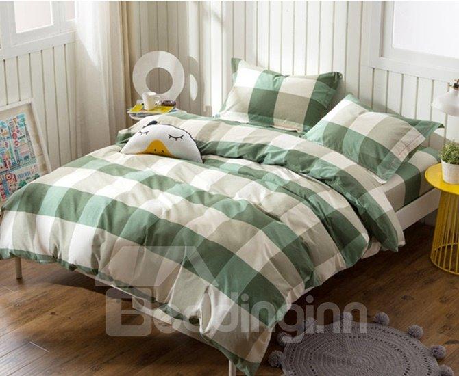 Simple but Fashionable Plaid Print 4-Piece Cotton Duvet Cover Sets