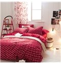 Cute Heart-shaped Design Red 4-Piece Cotton and Flannel Duvet Cover Sets