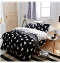 Simple Triangle Print 4-Piece Cotton and Flannel Duvet Cover Sets
