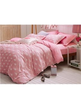 Princess Style Pink 4-Piece Cotton and Flannel Duvet Cover Sets