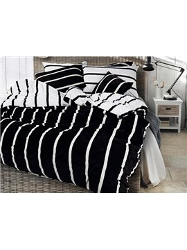 Neutral Style Stripe Print 4-Piece Cotton and Flannel Duvet Cover Sets