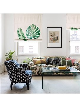 Palm and Monstera Leaves Printing Flat-Shaped Roman Shades