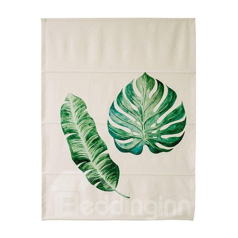 Palm and Monstera Leaves Printing Flat-Shaped Roman Shades