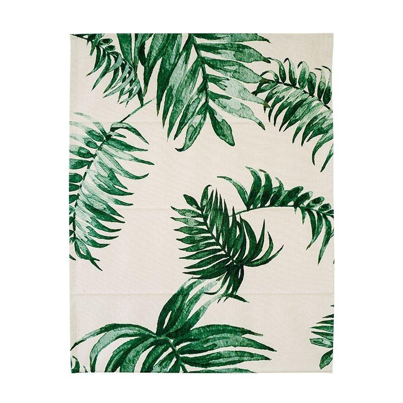 Green Watercolor Palm Leaves Printing Flat-Shaped Roman Shades